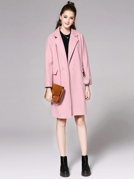 Pink Long Sleeves Double Breasted Solid Womens Long Wool Peacoat for Adult