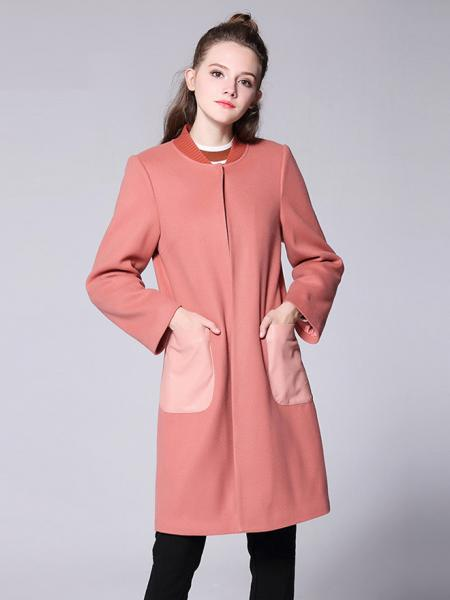 Pink Single Press Studs Long Sleeves Quilted Thick Long Winter Wool Coat Womens