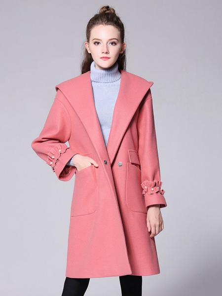Pink Stylish Single Press Studs Long Sleeves Hooded Long Wool Coat Womens