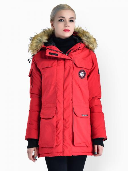 Red Double Zipper Faux Fur Hooded Thick Ladies Parka Coat for Winter