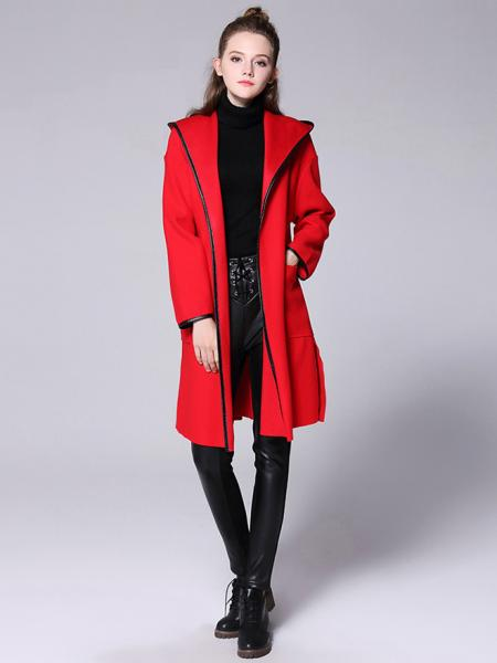 Red Open Front Long Sleeves Hooded Women Long Wrap Coat with Patch Pockets