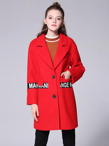 Red Single-breasted Long Sleeves Letter Printing Thick Wool Coat for Women
