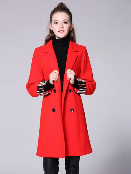 Red Striped Long Sleeves Double-breasted Draped Long Women Wool Pea Coat