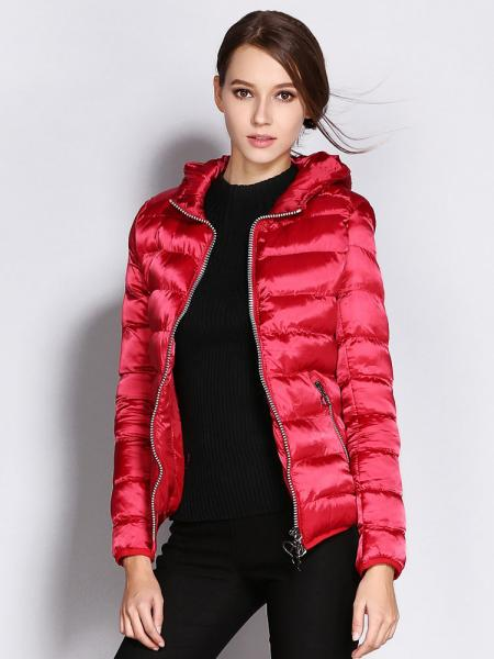 Red Two Way Zipper Long Sleeves Hooded Womens Slim Quilted Puffer Parka