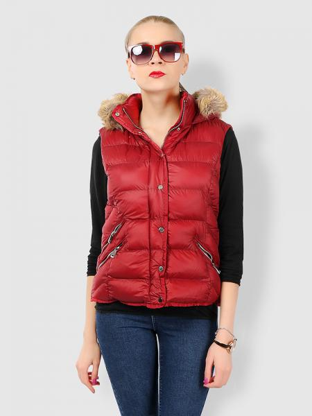 Red Zipper & Press Studs Puffer Short Padded Hooded Vest Coat for Women