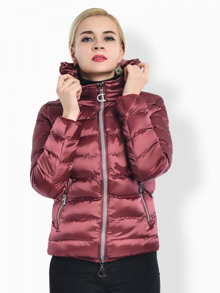 Rosy Two Way Zipper Long Sleeves Hooded Womens Slim Quilted Puffer Parka