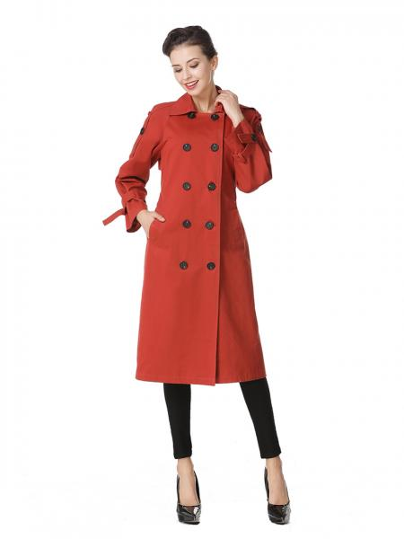 Rust Double-breasted Lined & Layered Long Ladies Trench Coat for Spring