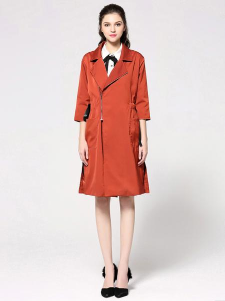 Rust Spring Three-quarter Sleeves Zipper Closure Long Womens Trench Coat