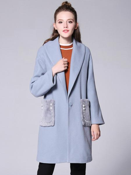 Wathet Press Studs Long Sleeves Big Lapel Thick Long Quilted Wool Coat Womens