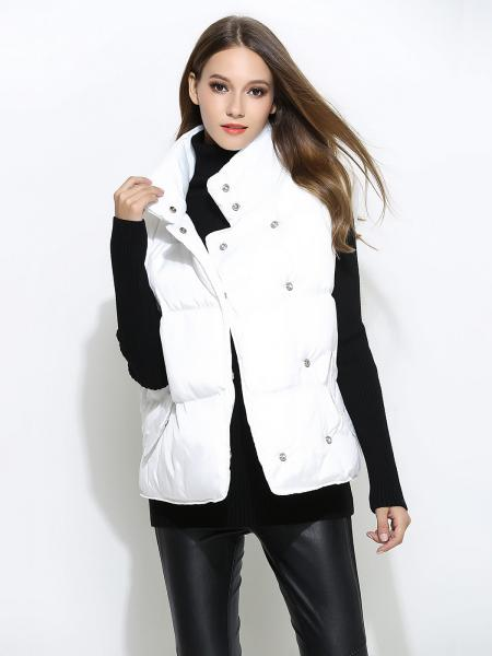 White Press Studs Closure Loose Fit Thick Puffer Warm Women Outerwear Vests