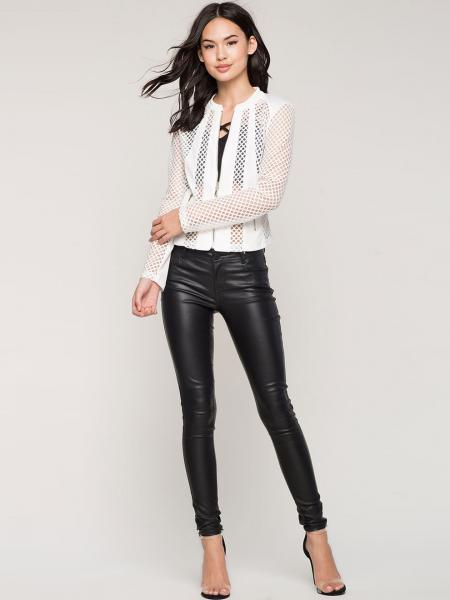 White Zipper Long Sleeves Sheer Mesh Splicing Light Weight Summer Short Jacket