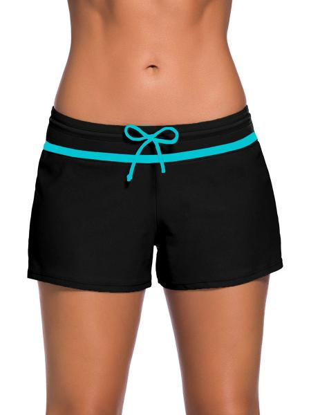 Black Blue Smooth and Loose Fitting Elastic Drawstring Swimming Boardshort for Women
