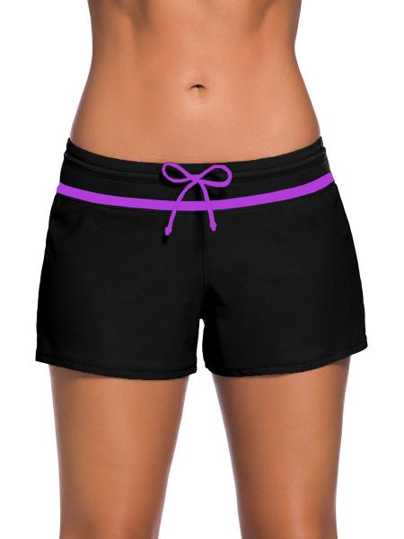 Black Purple Smooth and Loose Fitting Elastic Drawstring Swimming Boardshort for Women