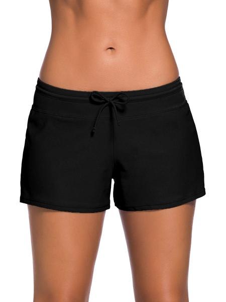 Black Smooth and Loose Fitting Elastic Drawstring Swimming Boardshort for Women