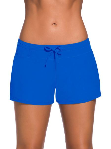 Blue Smooth and Loose Fitting Elastic Drawstring Swimming Boardshort for Women