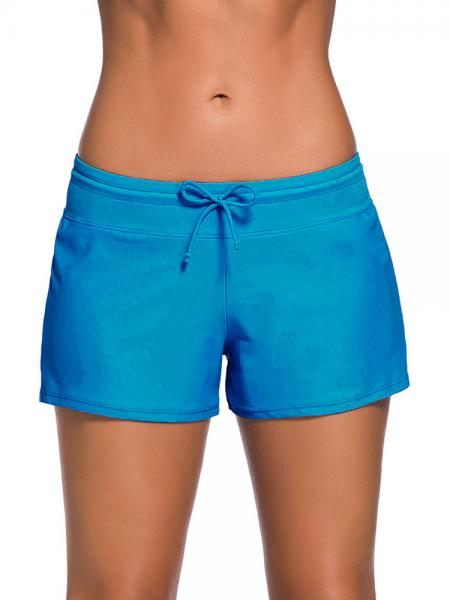 Cerulean Smooth and Loose Fitting Elastic Drawstring Swimming Boardshort for Women