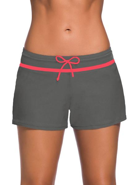 Grey Red Smooth and Loose Fitting Elastic Drawstring Swimming Boardshort for Women