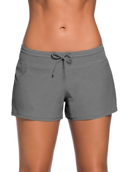 Grey Smooth and Loose Fitting Elastic Drawstring Swimming Boardshort for Women