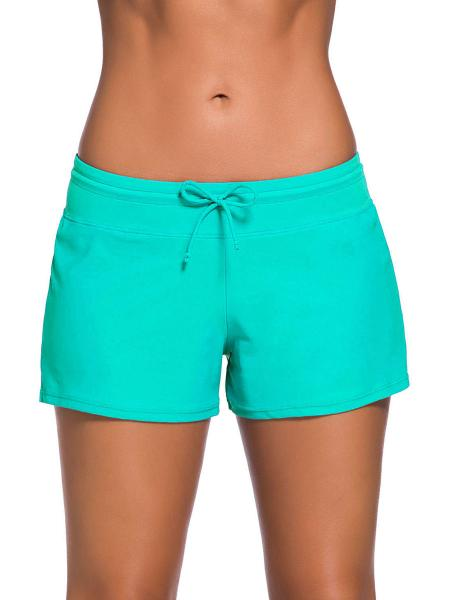 Mint Smooth and Loose Fitting Elastic Drawstring Swimming Boardshort for Women
