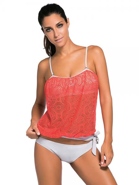 Orange White Lace Overly Pullover Sun Protection Low-waisted Padded Bandeau Tankini Swimsuit