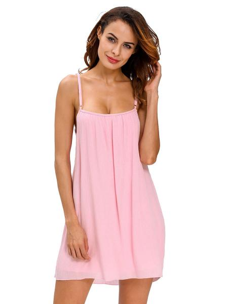 Pink Lightweight Sleeveless Camisole Neckline Flowing Crinkled Beach Sundress Women