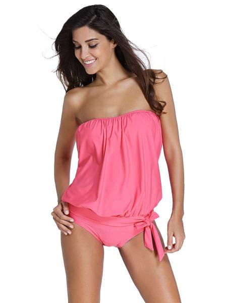 Pink Pullover Blouse Style Sun Protection Low-waisted Padded Bandeau Tankini Swimsuit