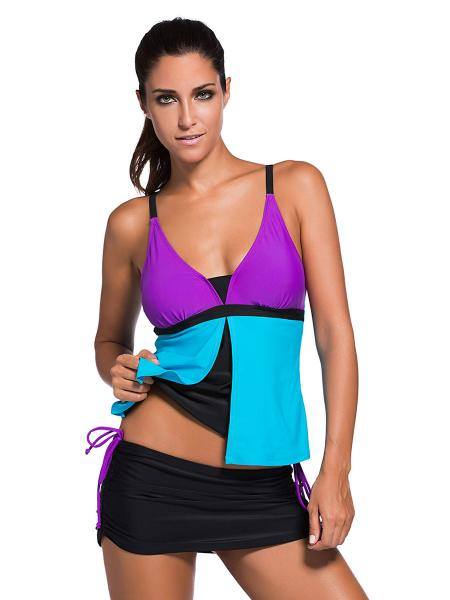 ad9661a1204cd ... Purple Wathet Black Contrast Layered Color-block Ruched & Padded Tankini  with Skort Bottom Swimsuit; Grey Orange ...