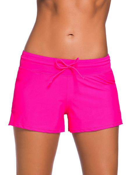 Rosy Smooth and Loose Fitting Elastic Drawstring Swimming Boardshort for Women