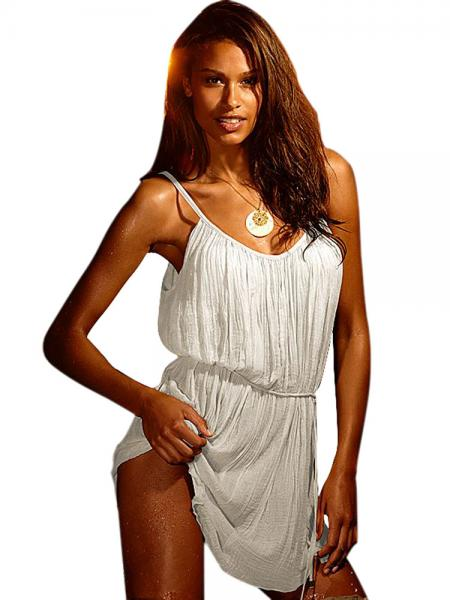 White Lightweight Sleeveless Camisole Neckline Flowing Crinkled Beach Sundress Women