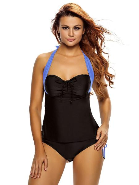 Black Blue Adjustable Halter Neckline Ruched and Bra Padding Low Waisted Tankini Swimstui