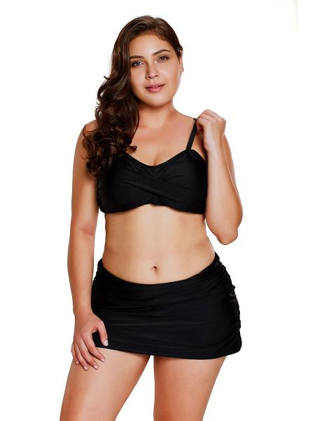 Black Figure-flattering Twist Front Bandeau Style Bra Padding Ruched Skirted Bikini Set