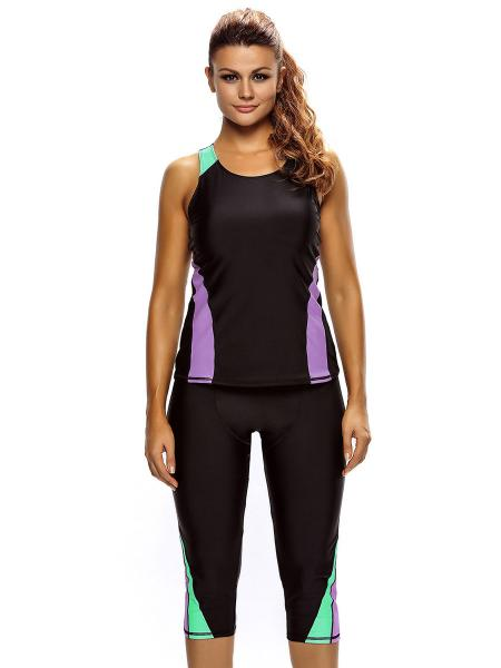 Black Purple Mint Color Block Waterproof Removable Bra Padding Athletic Tankini with Cropped Pants