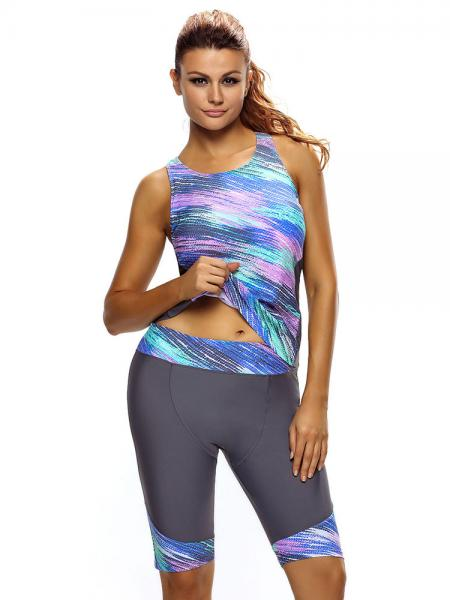 2c94f55e7f ... Grey Colorful Printing Removable Bra Padding Sporty Tankini with  Cropped Pants Set