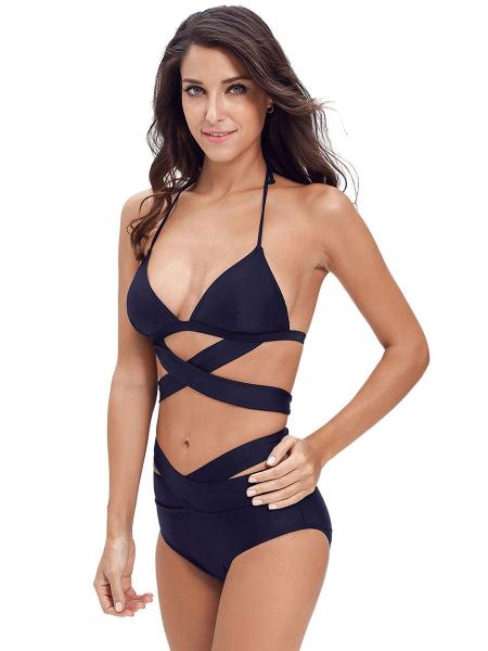 37110a70bbc85 ... Navy Crossed & Cut Out Halter Neckline Padded and High-waisted Ladies  Bikini Swimsuit ...