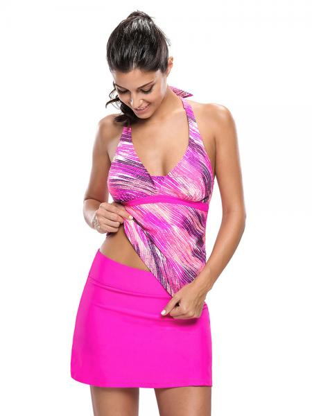 Rosy Halter Neckline Printed Removable Bra Padding Women Tankini Swimtuis with Skirts