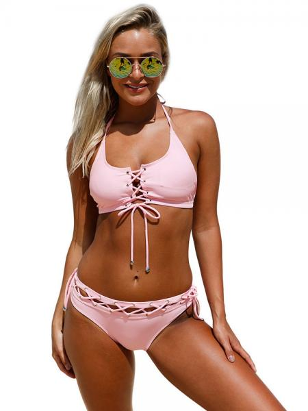 Pink Sexy Cut-out Halter Neckline Lace-up Accent Low-waisted Womens Bikini Swimsuits