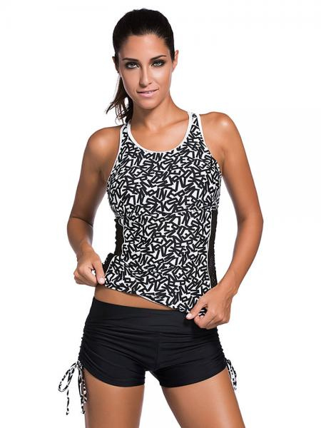 Black White Sporty Racerback Printed and Bra Padding Cutout Ruched Tankini with Boy Shorts