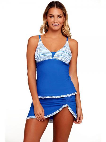 Blue White Blue White Striped Adjustable Shoulder Straps Bra Padding Ruched Skirted Tankini