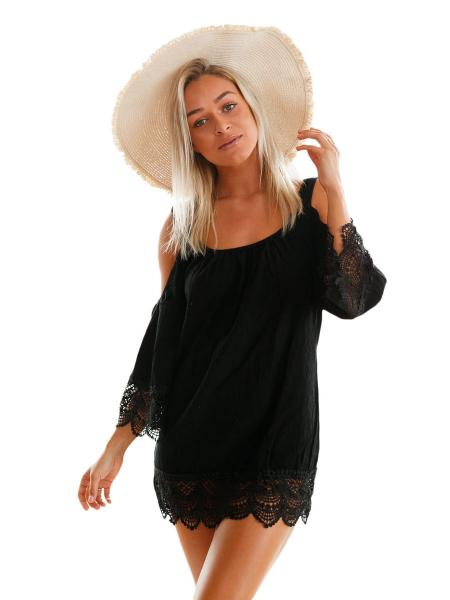 Black Cold Shoulder Scoop Neckline Long Sleeves Lacy Crochet Mini Length Beachwear