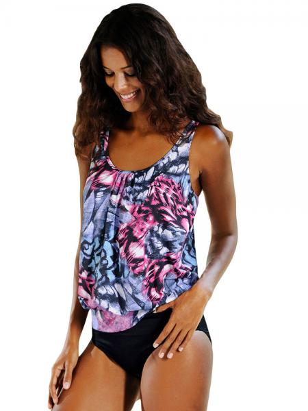 Black Grey Rosy Blouson Styled Ethnic Printing Low-waisted Bra Padding Racerback Tankini Swimsuit