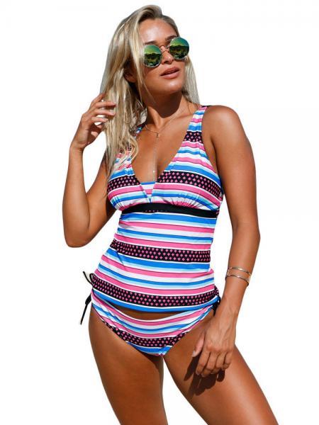Black Pink Blue Pull Over Styled Adjustable Shoulder Straps Padded Bandeau Lace-up Tankini Set