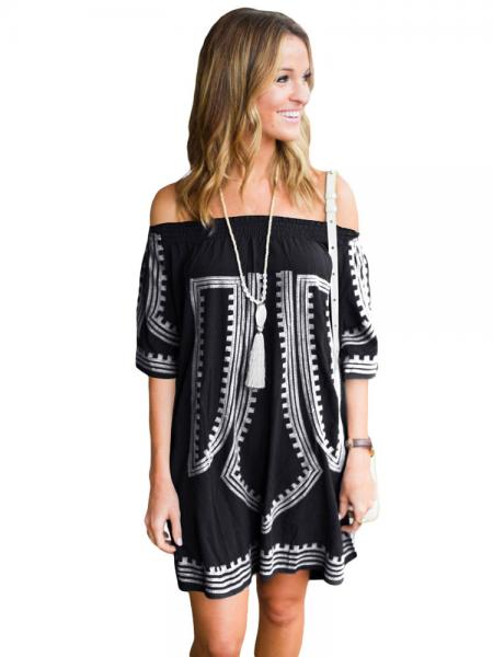 Black White Bohemian Inspired Vibe Geometric Printed Off Shoulder Half Sleeves Beach Dress