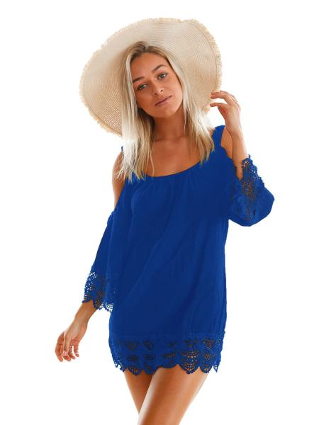 Blue Cold Shoulder Scoop Neckline Long Sleeves Lacy Crochet Mini Length Beachwear