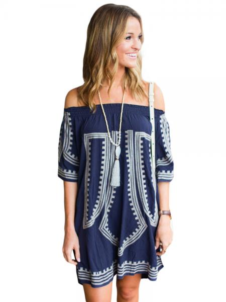 Navy White Bohemian Inspired Vibe Geometric Printed Off Shoulder Half Sleeves Beach Dress