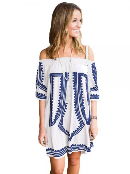 White Blue Bohemian Inspired Vibe Geometric Printed Off Shoulder Half Sleeves Beach Dress