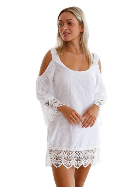 White Cold Shoulder Scoop Neckline Long Sleeves Lacy Crochet Mini Length Beachwear