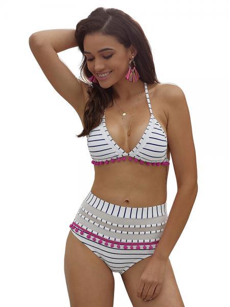 White Blue Halter-neck Padded Triangular and High Waisted Bikini Set with Bit of Flirty