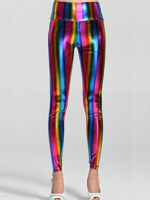 High Waist Fluorescent Rainbow Slim Pieces Leggings