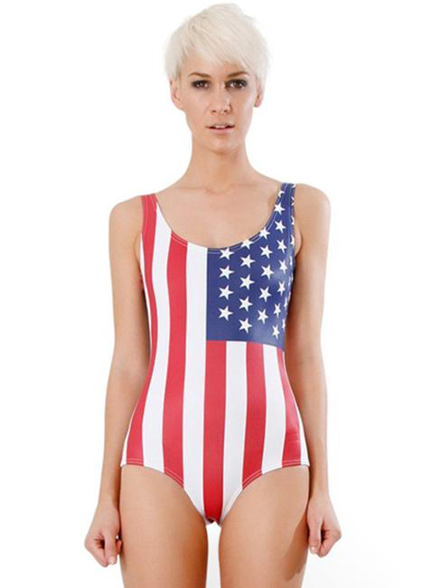 USA Flag Stars and Stripes Print One Piece Swimwear