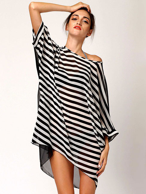 Summer Oversized Relaxed Fit Black White Stripes Sleeved Thin Beach Caftan Cover Up